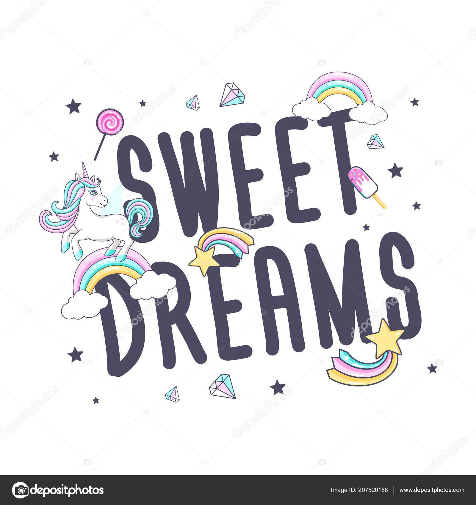 Weisse Susse Einhorn Mit Inschrift Sweet Dreams Fur Print Design