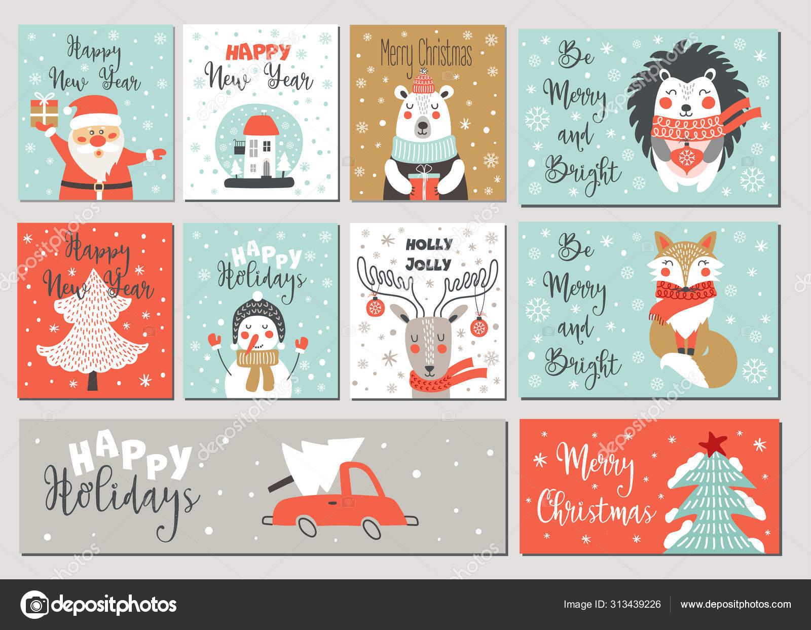 Selamat Natal Dan Selamat Tahun Baru Kartu Ucapan Ditetapkan Dengan Elemen Gambar Tangan Vektor Stok Vektor C Kate She 313439226