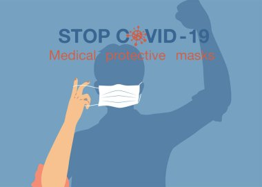 Stop COVID-19. men cartoon drawing wearing protective mask icon