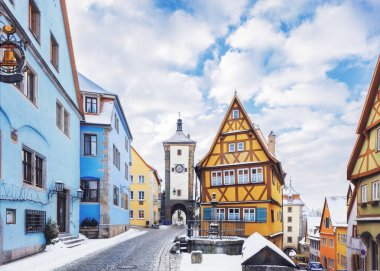 Medieval old Rothenburg ob der Tauber in winter