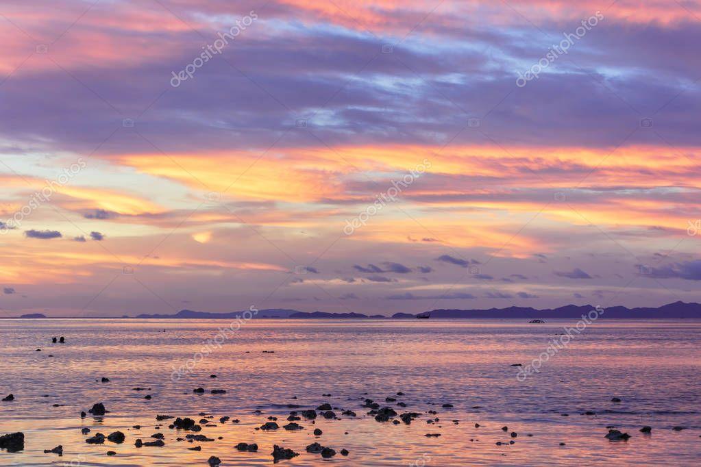 Asian tropical beach sunset in Thailand