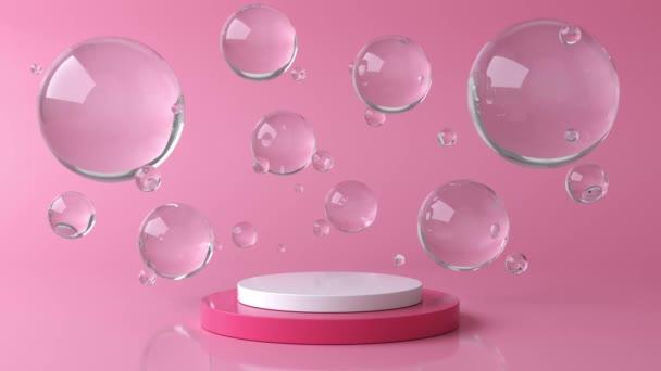 Růžové a bílé kulaté jeviště, podstavec nebo pódium a voda a skleněné bubliny nebo koule. Růžové pastelové pozadí reklama. Pozadí nebo modeling pro kosmetiku nebo módu. 3D animace ve 4K