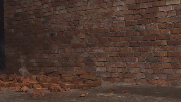 Video z červených cihel, ležící na zemi u zdi. Nejprve některé malé kousky cementu začne padat. Pak náhle některé cihly začne to také.