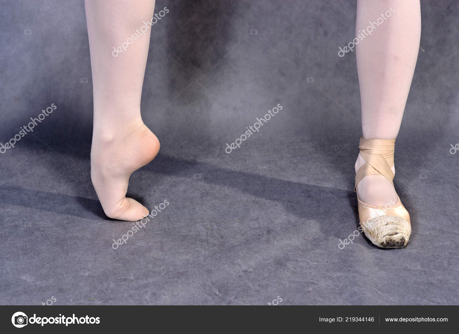 Closeup Ballerina Feet Pointe Shoes Grey Background Classical School Ballet Stock Photo C Baklajan 219344146