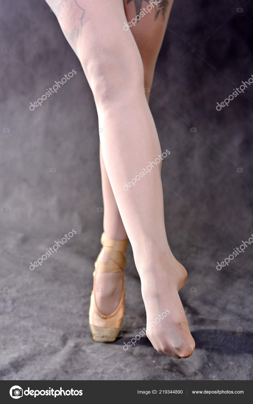 Closeup Ballerina Feet Pointe Shoes Grey Background Classical School Ballet Stock Photo C Baklajan 219344890