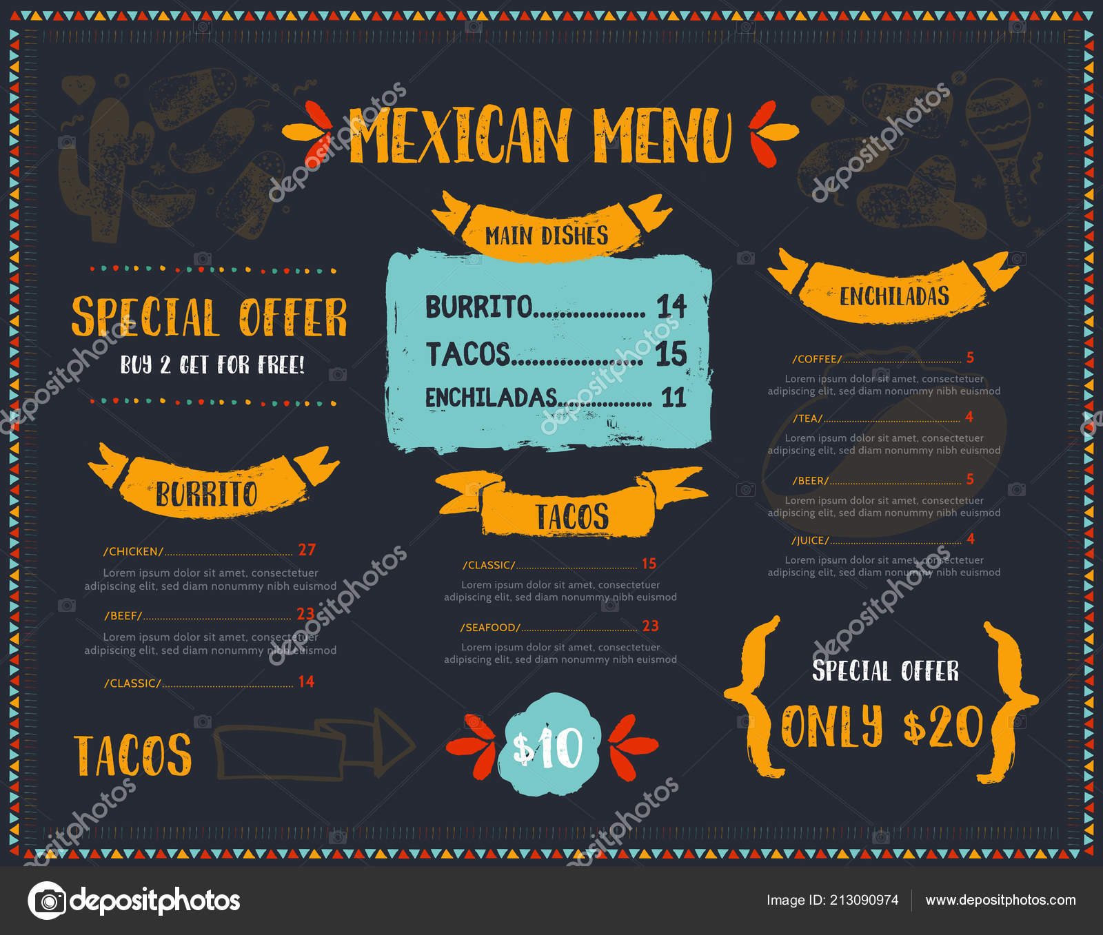 Grunge Mexican Food Restaurant Menu Template Design With Sketch