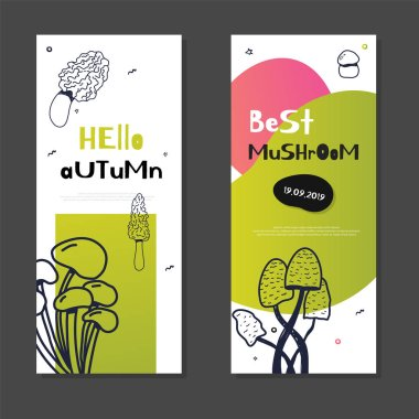 Mushroom doodle banner set with Isolated sketch Champignon, enokitake, oyster, chanterelle, shiitake. Use it for menu, banner, badge, product packaging