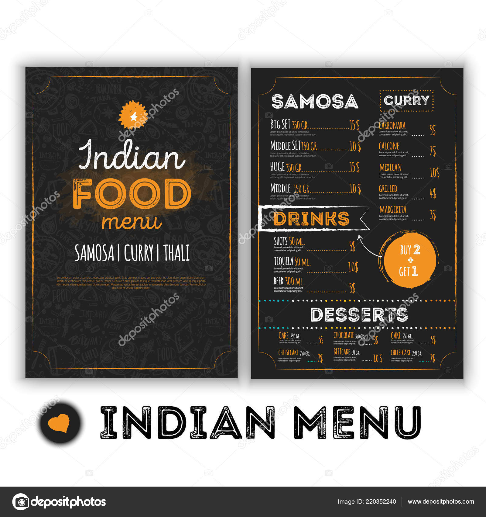 Indian Food Menu Template With Grunge Doodles In Hand Drawn Style