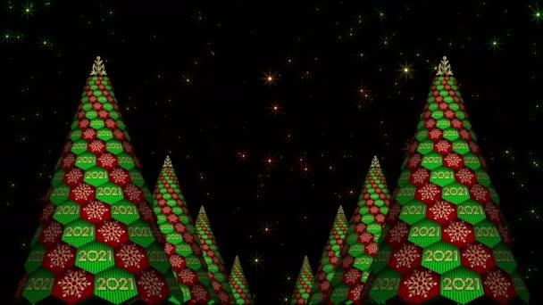 Rotace abstraktních vánočních stromků. 2021 rok.