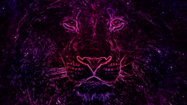 Lion. Animated purple drawing. Strokes and lines.