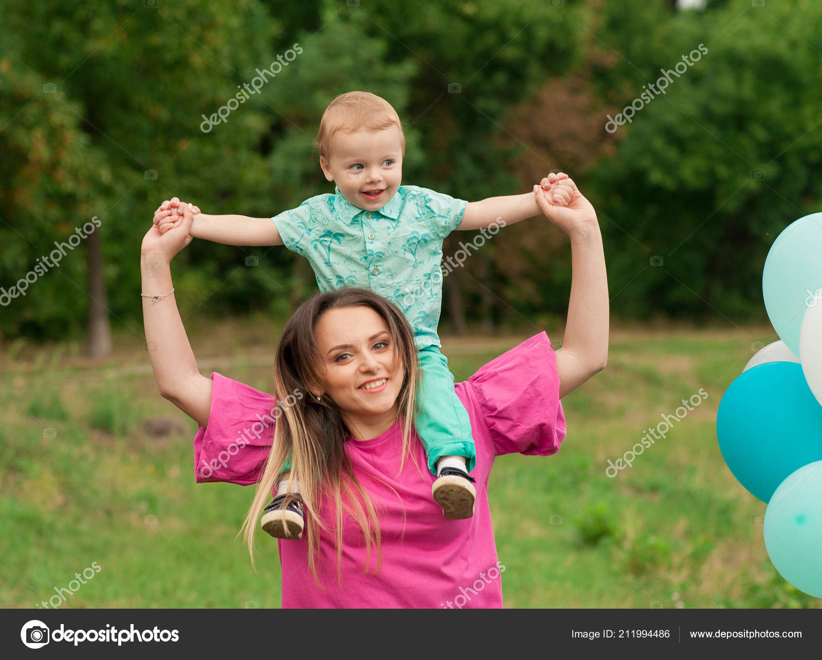 Mother Playing Park Her Child Baby Mom Son Seasonal Background
