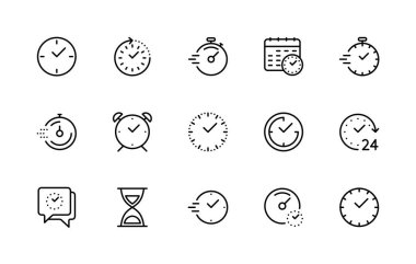 Time and clock, vector linear icons set. Timer, speed, alarm, restore, management, calendar, watch symbols for web and mobile phone on white background. Editable stroke. Vector illustration icon