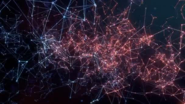 a Punkte, die sich langsam mit Verbindungen bewegen, die zwischen ihnen entstehen und verschwinden. Die Aktivität weitet sich von plötzlich erscheinenden Zentren auf die äußeren Grenzen aus. 4k