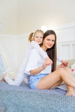 Joyful family at home
