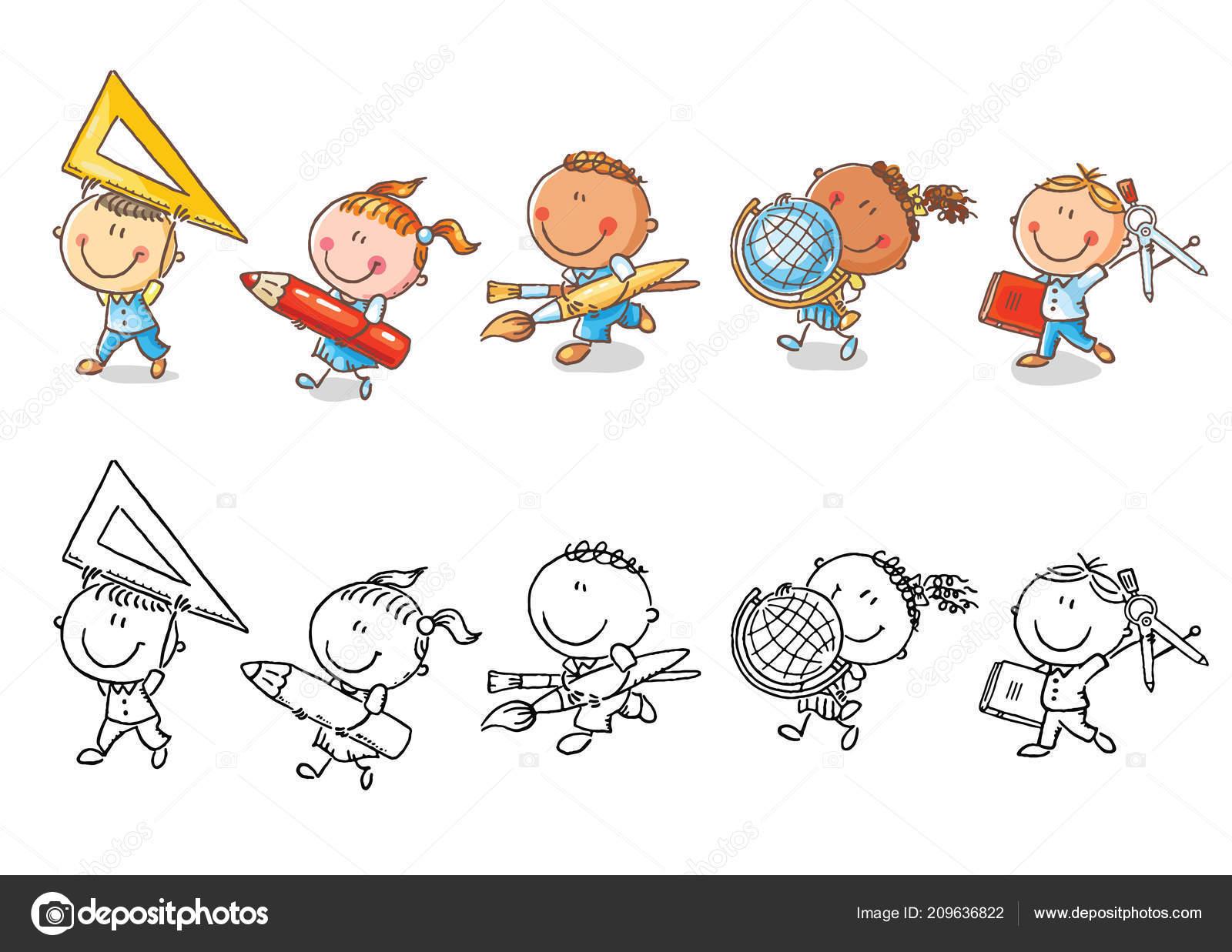 Sada Kreslene Skolni Deti Drzi Ruzne Skoly Objekty Stock Vektor