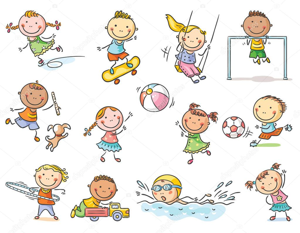 Little cartoon kids activities - playing outdoor games or going in for sports, set of 12 kids, no gradients stock vector