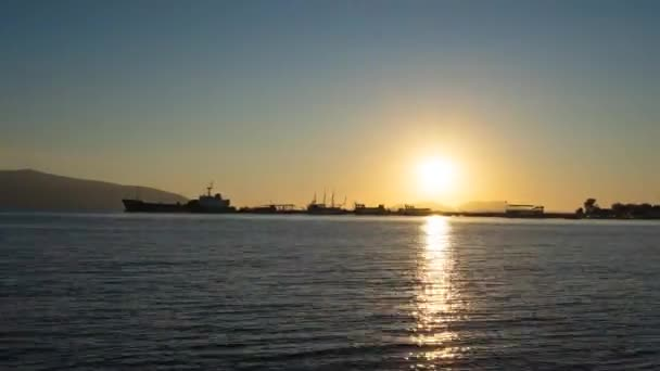 Scenic sunset over Ioninan sea in Vlore Albania time lapse