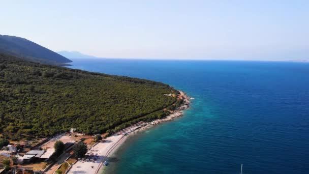 Flying drone over one of the most beautiful beaches of Albania
