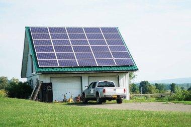 solar panel installed on garage roof
