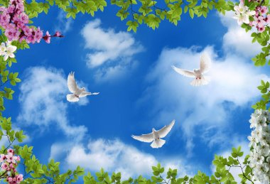 3d flower , butterfly sky and flower home brick wall background