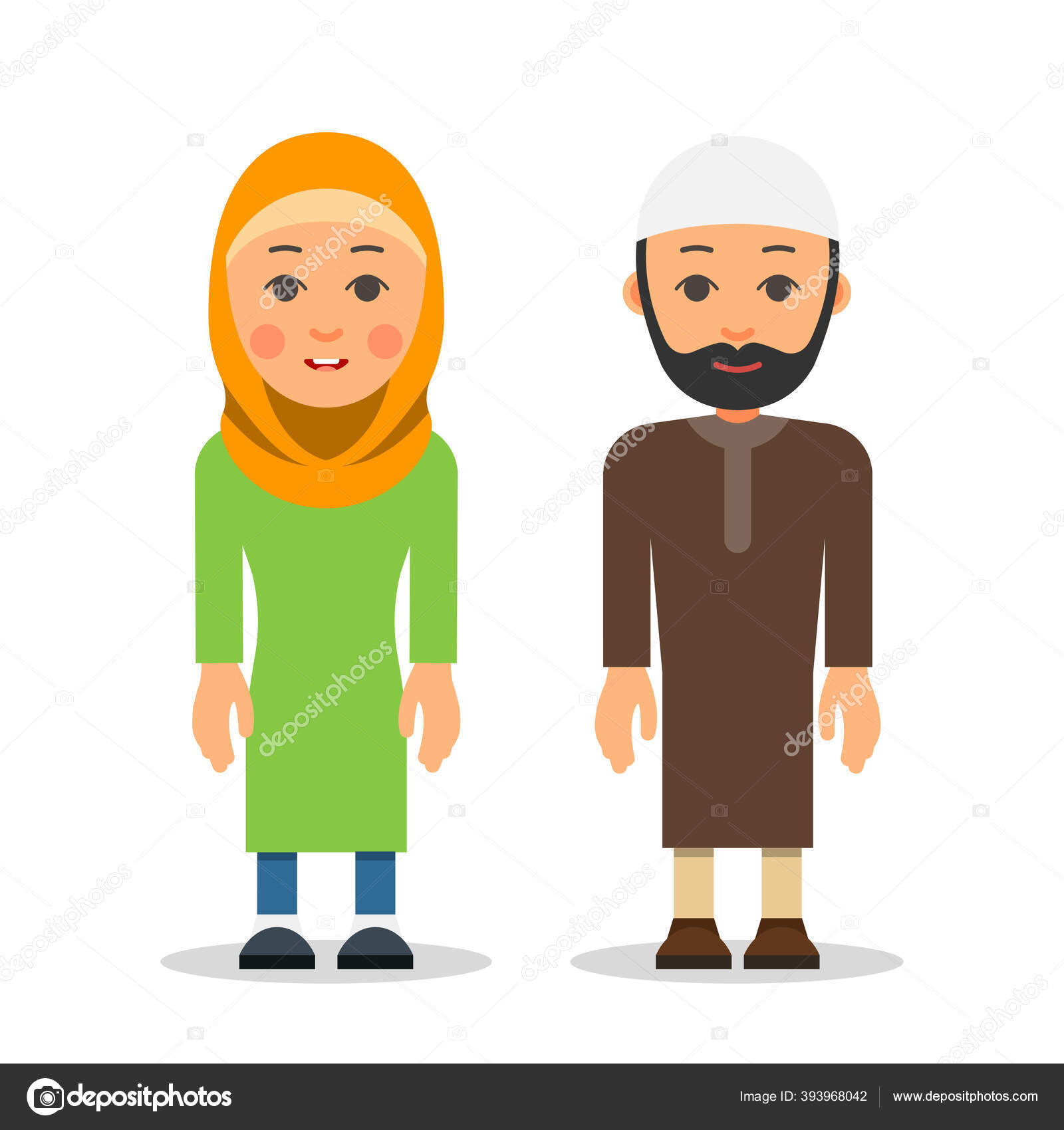 Gambar Kartun Wanita Pria Muslim Arab Muslim Couple Woman Man Stand Together Traditional Clothing Isolated Stock Vector C Jeysent 393968042
