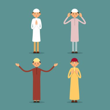 Muslim praying. Set Muslim or Arab men stand and pray. The performance of Muslim prayer by men with raised hands. Isolated characters of representatives of Islam on a background in a flat style