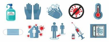 Set of sars-cov2 covid-19 safety precautions and warning signs. Corona virus icon set. icon