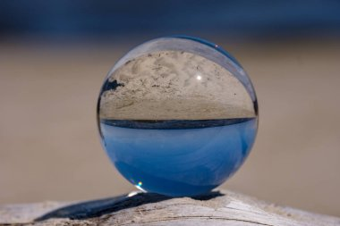 chrystal ball on a dry wood on the beach in summer, reflections of the sea and sky