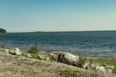 kamenné moře pláž s širokým úhlem pohledu nad mořem s slunečnou oblohou a vlny