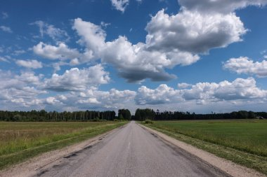 simple country gravel road in summer at countryside with trees around and clouds in the sky