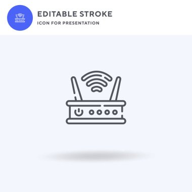 Router icon vector, filled flat sign, solid pictogram isolated on white, logo illustration. Router icon for presentation.