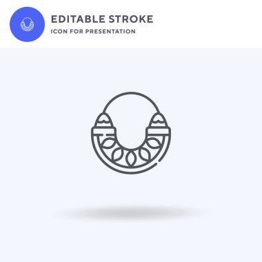 Necklace icon vector, filled flat sign, solid pictogram isolated on white, logo illustration. Necklace icon for presentation.