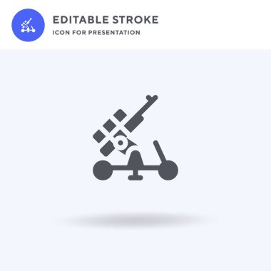 Artillery icon vector, filled flat sign, solid pictogram isolated on white, logo illustration. Artillery icon for presentation. icon