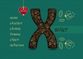 Fotografie Name Day Card for Xavier. Artistic brown letter X with golden floral decor. Vintage red heart with chain. Words with the letter X - xenial, xmassy, excellent, exciting, expert, dexterous