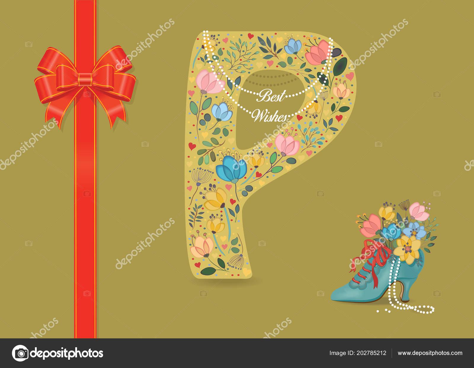 Artistic Letter P With Folk Botanical Decor
