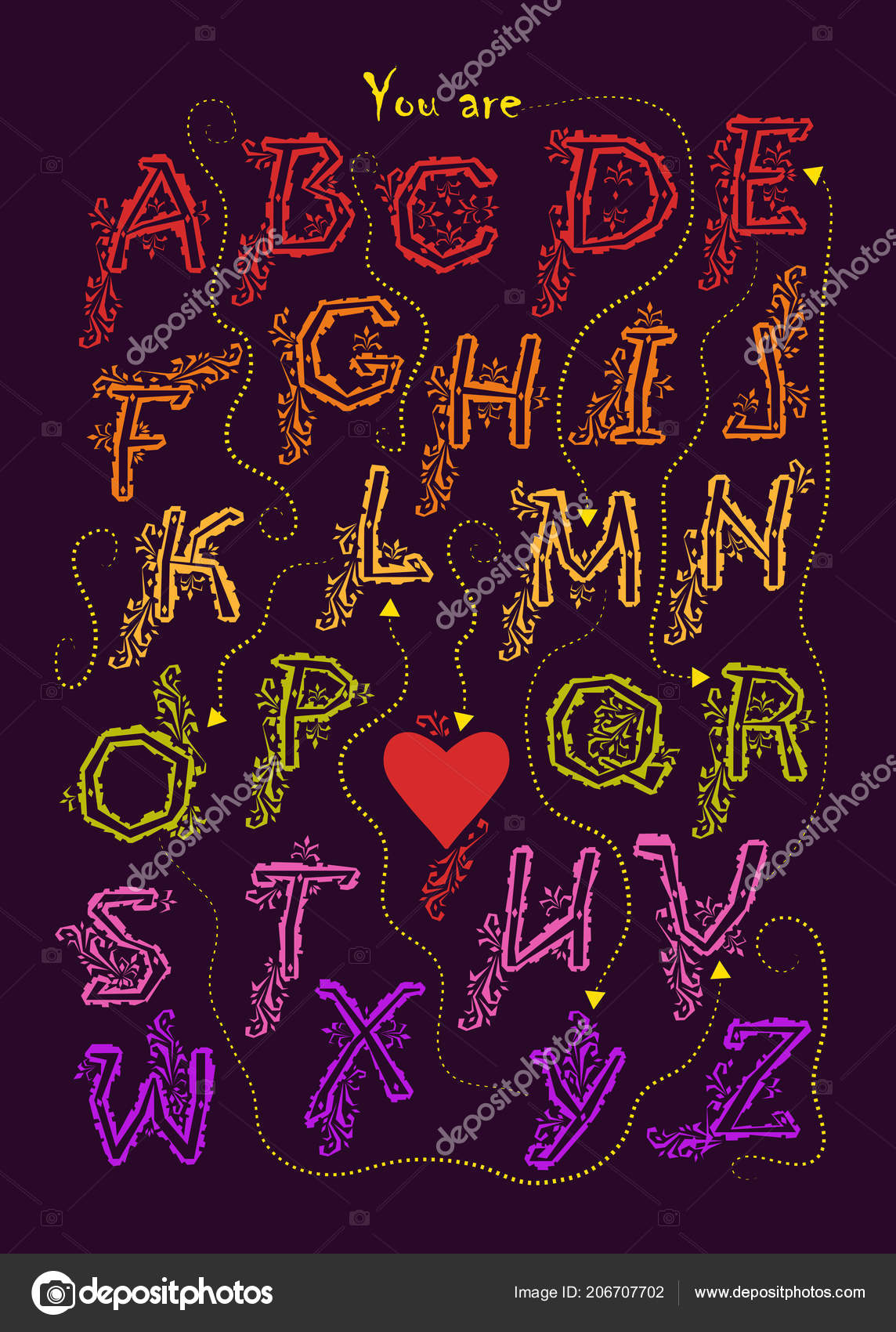 Alphabet Artistique Avec Chiffré Message Romantique Mon