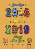 Sbohem 2018. Ahoj 2019. Šťastný nový rok. Umělecké barevné čísla světlé disko pokoje. Karikatura mužských a ženských rukou s očima, rty, kravatu a knír. Oranžové pozadí. Vektorové ilustrace