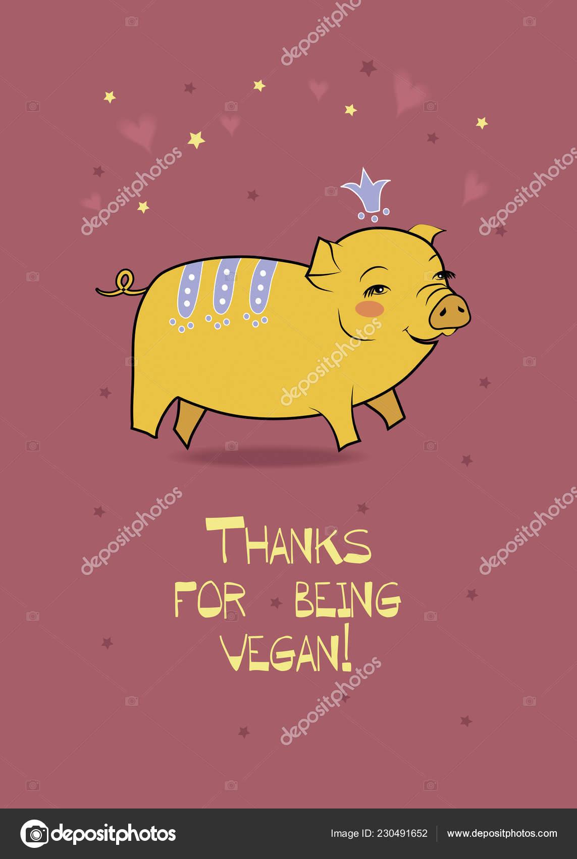 Año Pig Thanks Ser Vegano Foto De Stock Prolegowoman 230491652