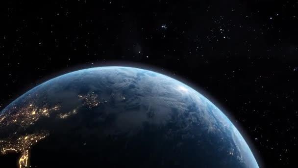 Animace planety Země letící vesmírem mezi hvězdami.