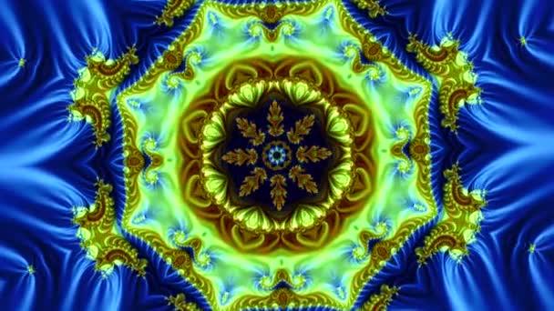 odhalení krásného fraktálního pozadí modré a vzhledu ve středu kompozice abstraktních květin a hvězd