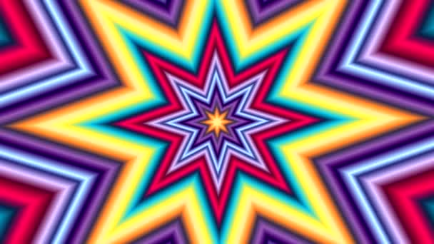 animation of a multi-layered multi-colored star with its transformation into geometric abstract shapes