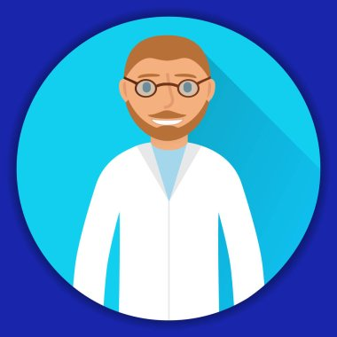 The therapist of health service in white clothes of avatars. In flat style a vector. icon