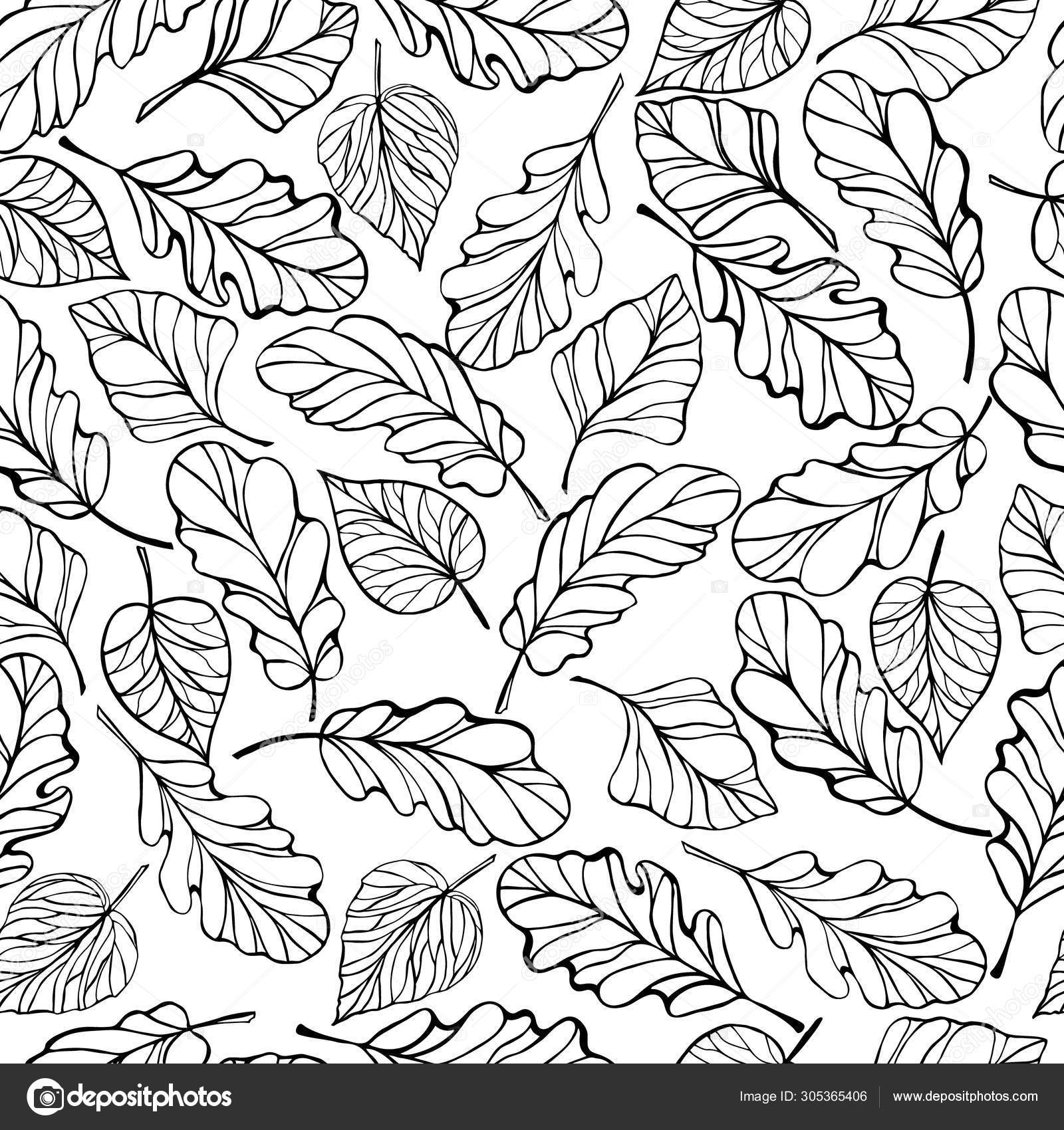 Seamless Pattern Foliage Hand Draw Leaves Decorative Background Leaf Stock Vector C Natwil 305365406