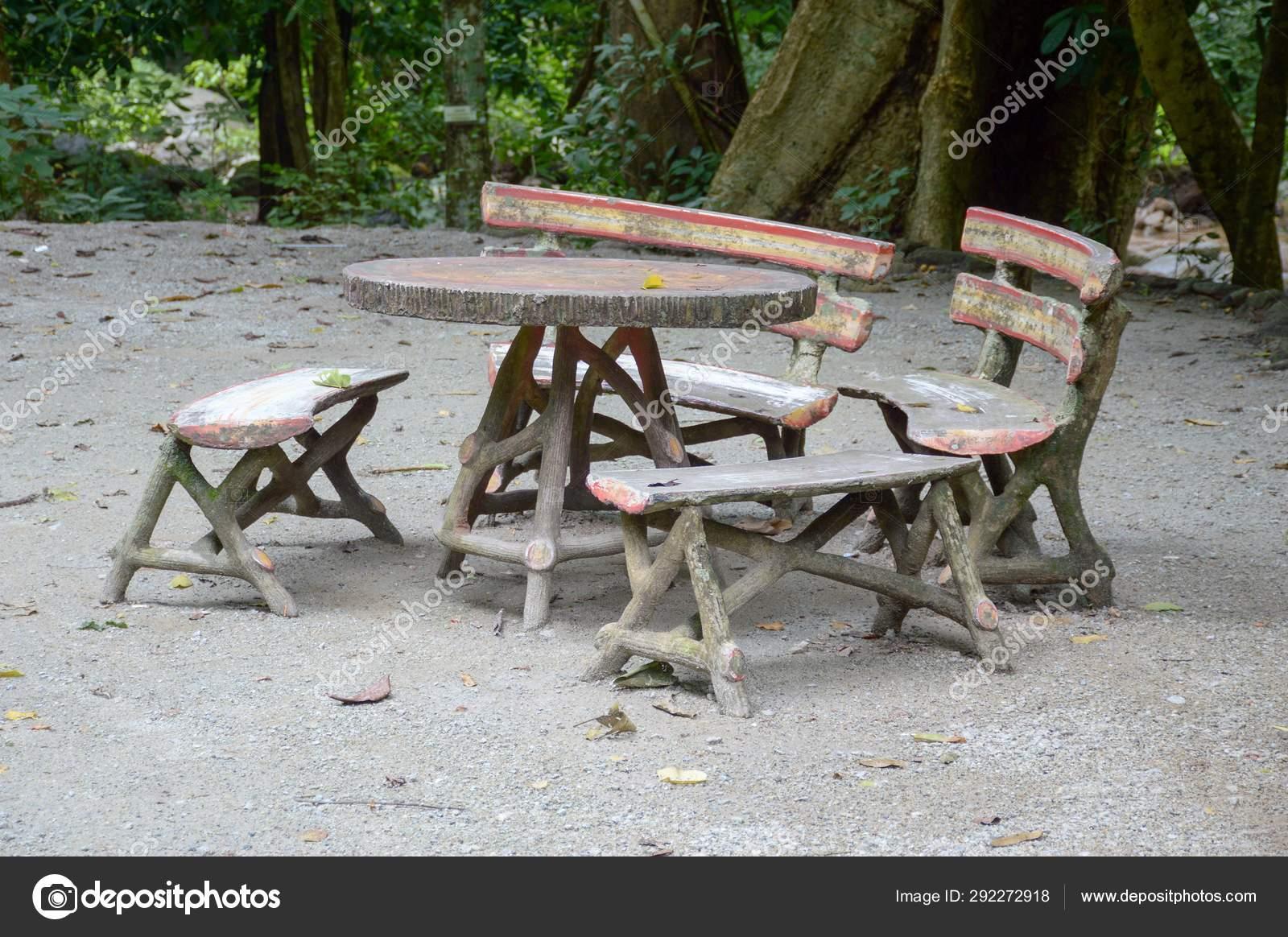 Incredible Cement Table Chair Nature Garden Stock Photo C Pongsak14 Uwap Interior Chair Design Uwaporg