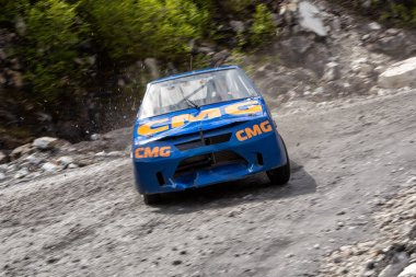Marble quarry, Slyudyanka, Irkutsk region, Russia. 07.06.2015. Mountain race.  racing car in a mountain racing competition