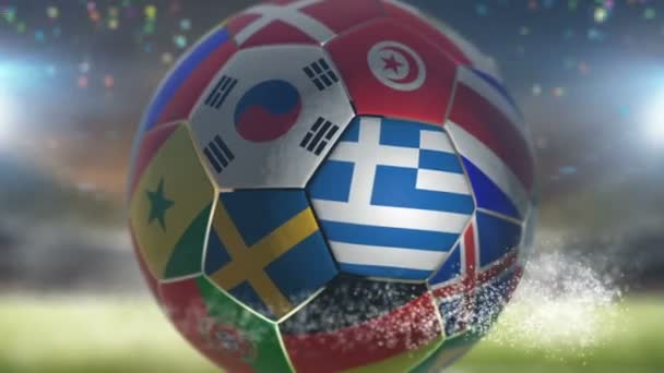 greece flag on a soccer ball football in stadium
