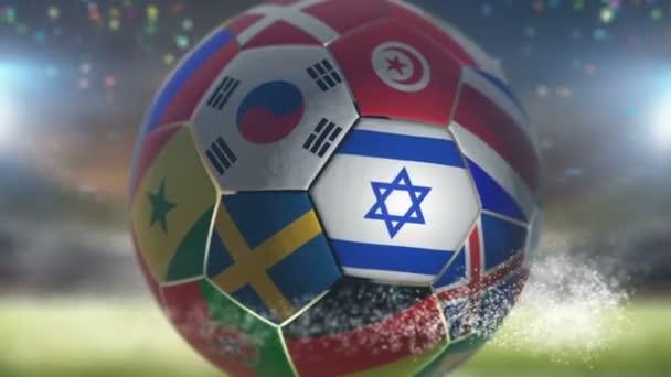 israel flag on a soccer ball football in stadium