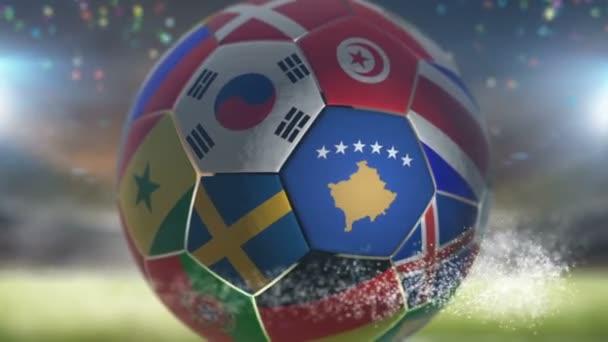 kosovo flag on a soccer ball football in stadium