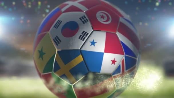 panama flag on a soccer ball football in stadium