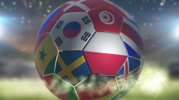 poland flag on a soccer ball football fly